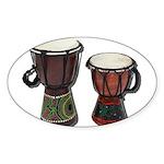 Djembe Drums 1 Sticker (Oval 10 pk)