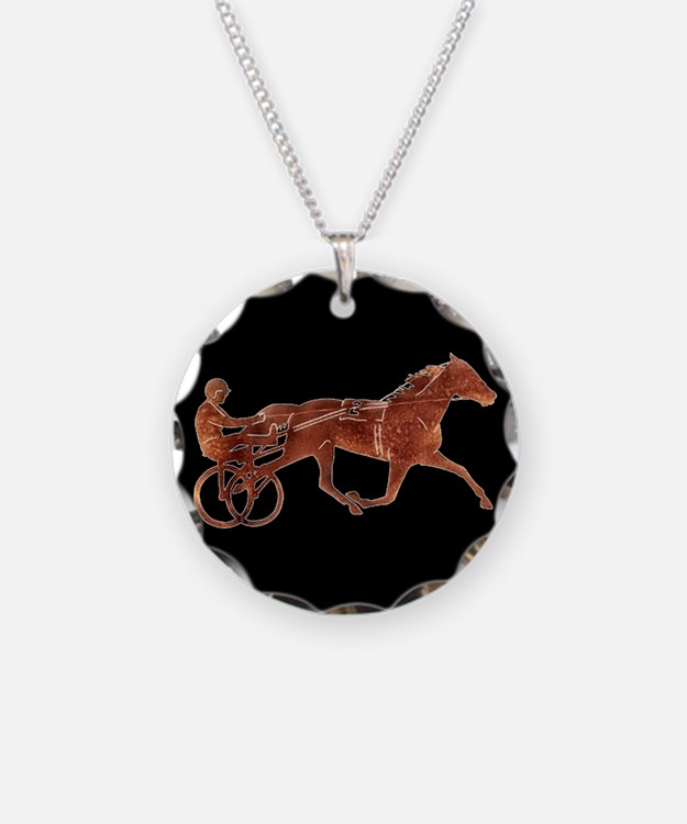 Brown Pacer Silhouette Necklace Circle Charm