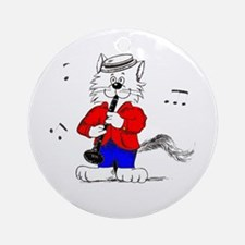 Clarinet Cat Ornament (Round)