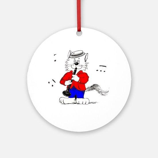 Clarinet Cat Ornament (Round)