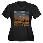 Evening Walk Women's Plus Size V-Neck Dark T-Shirt