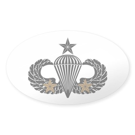 Combat Parachutist 2nd awd Sr. B-W Sticker (Oval)