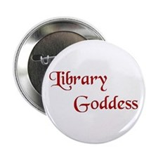 "Red Library Goddess 2.25"" Button"
