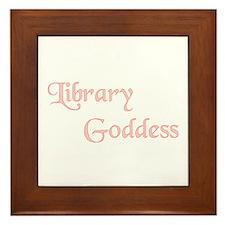 Pink Lbrary Goddess Framed Tile