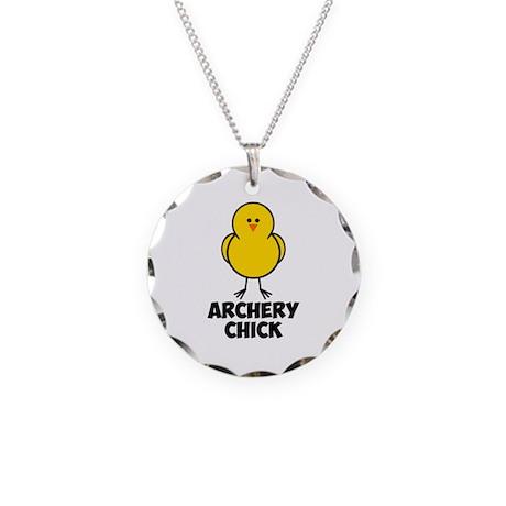 Archery Chick Necklace Circle Charm