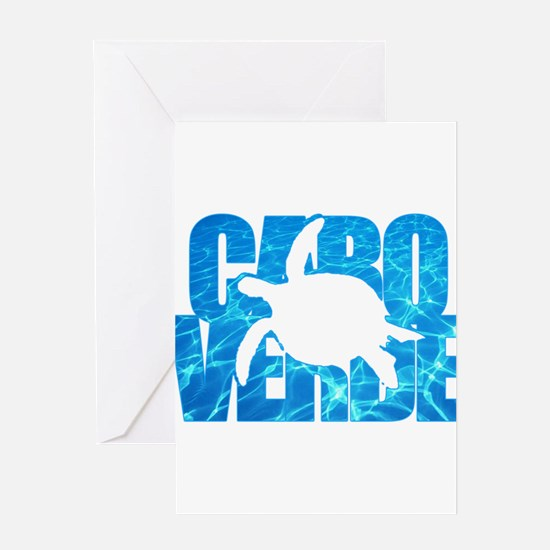 Cape Verde Turtle Blue Water Greeting Card