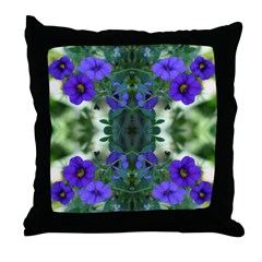 Blue flower Reflection Throw Pillow