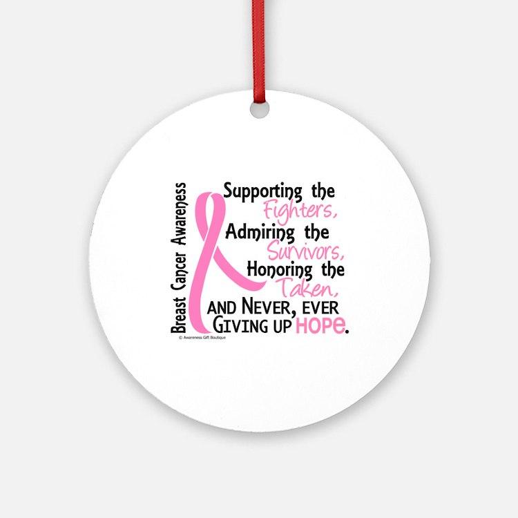 SupportAdmireHonor10 Breast Cancer Ornament (Round