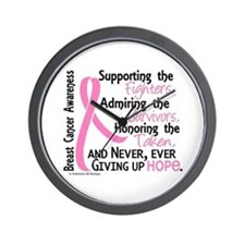 SupportAdmireHonor10 Breast Cancer Wall Clock