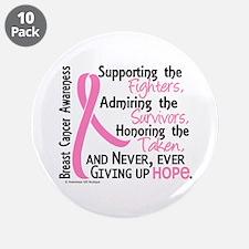 "SupportAdmireHonor10 Breast Cancer 3.5"" Button (10"