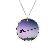 Bird Love Necklace Circle Charm