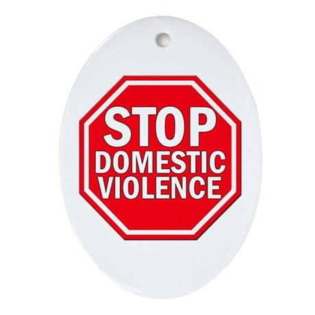 STOP Domestic Violence Oval Ornament