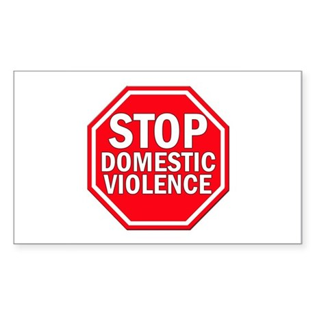 STOP Domestic Violence Rectangle Sticker