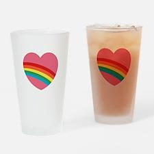 80s Rainbow Heart Drinking Glass