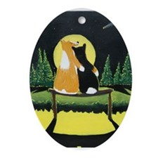 Cute Tri color pembroke welsh corgi Ornament (Oval)