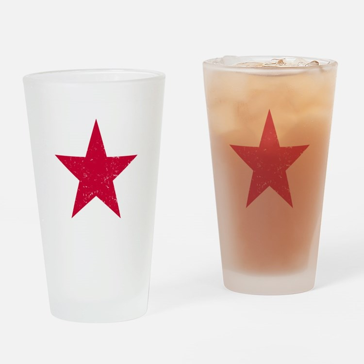 Vintage Red Star Drinking Glass