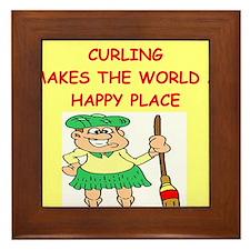 curling gifts t-shirts Framed Tile
