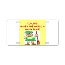 curling gifts t-shirts Aluminum License Plate