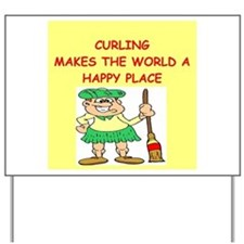 curling gifts t-shirts Yard Sign