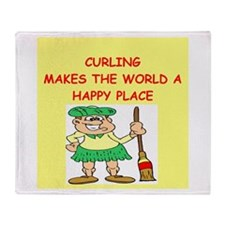 curling gifts t-shirts Throw Blanket