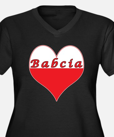 Babcia Polish Heart Women's Plus Size V-Neck Dark