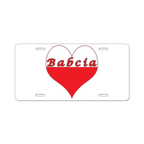 Babcia Polish Heart Aluminum License Plate