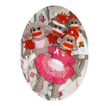 Sock Monkeys for the Cure Ornament (Oval)