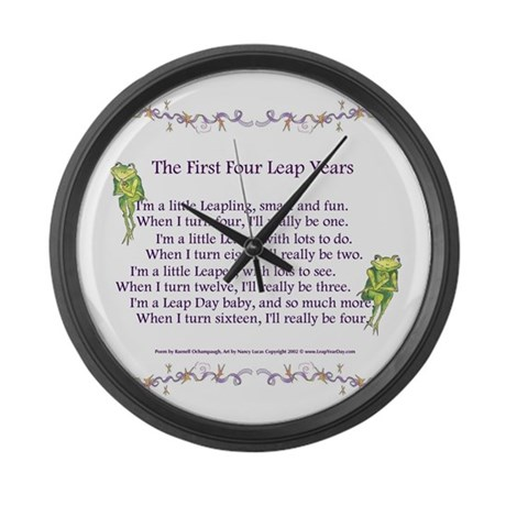 First Four Leap Years Large Wall Clock