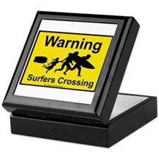 Surfers Crossing Keepsake Box