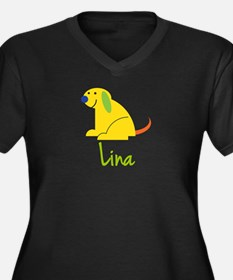 Lina Loves Puppies Women's Plus Size V-Neck Dark T