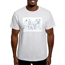 Bulldog Family Blue/Ash Grey T-Shirt