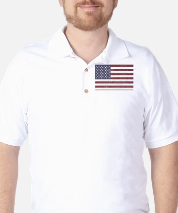 Roughened American Flag Golf Shirt