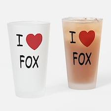 I heart fox Drinking Glass
