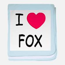 I heart fox baby blanket