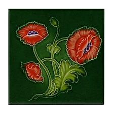 Art Nouveau Red Poppy Tile Coaster