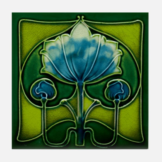 Art Nouveau Blue Flower Tile Coaster