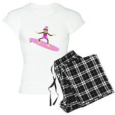 Sock Monkey Surfer Girl Pajamas