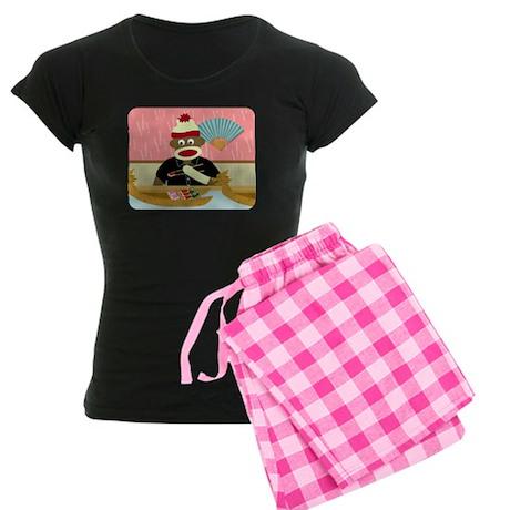 Sock Monkey Sushi Women's Dark Pajamas
