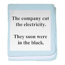 electricity joke baby blanket
