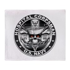 USN Hospital Corpsman Skull H Throw Blanket