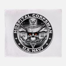 USN Hospital Corpsman Skull H Throw Blanket