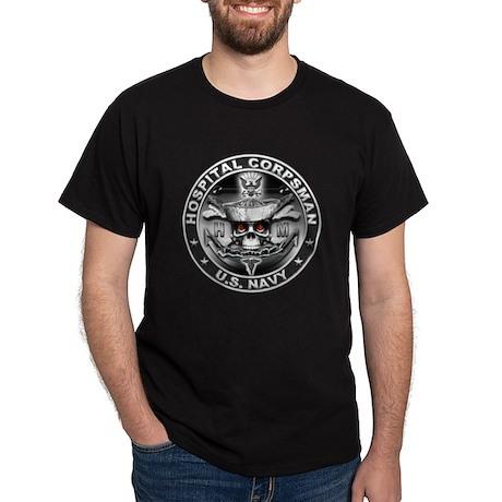 USN Hospital Corpsman Skull H Dark T-Shirt