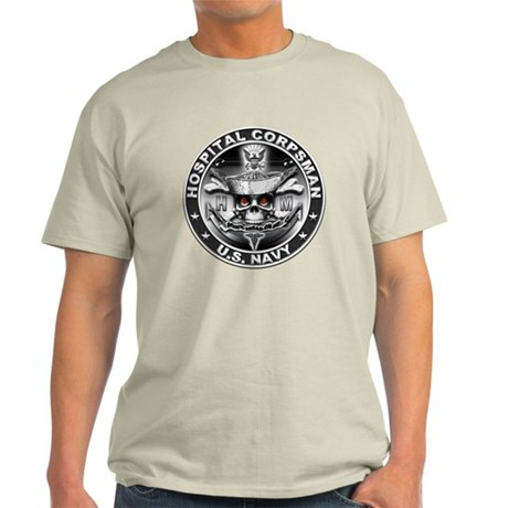 USN Hospital Corpsman Skull H Light T-Shirt