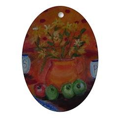 October Kitchen Scene Ornament (Oval)