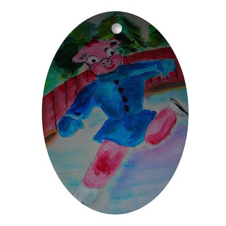 Flying Pig on Skates Ornament (Oval)