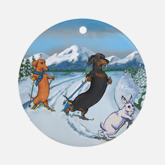 Ski Dachshunds Ornament (Round)