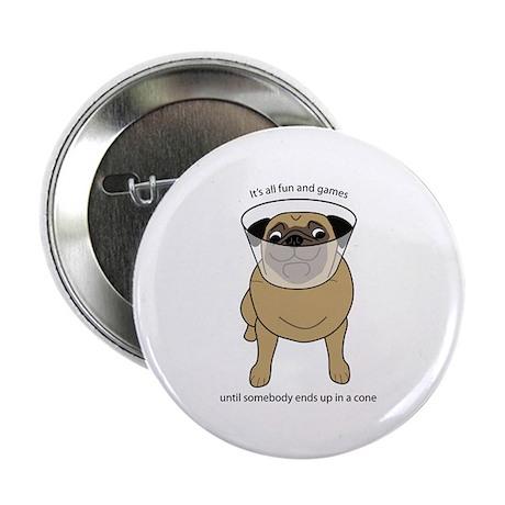 "Conehead Fawn Pug 2.25"" Button (100 pack)"