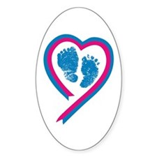 Footprint Ribbon Oval Stickers