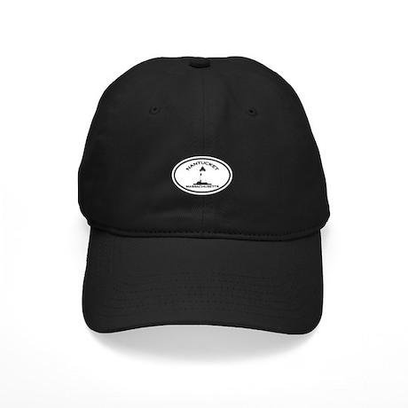 Nantucket MA - Oval Design Black Cap