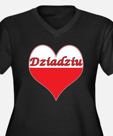 Dziadziu Polish Heart Women's Plus Size V-Neck Dar